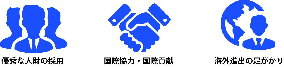 優秀な人財の採用・国際協力・国際貢献・海外進出の足がかり